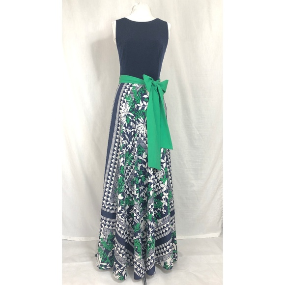 b696b56a62d53 Eliza J Scarf Print Jersey & Crepe de Chine Dress